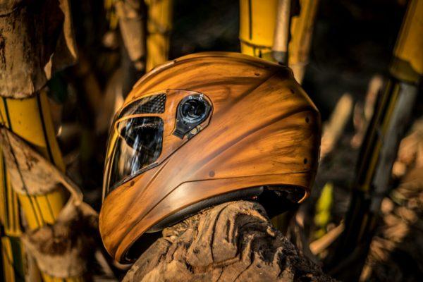 Wooden illusion Custom Helmet design Side2