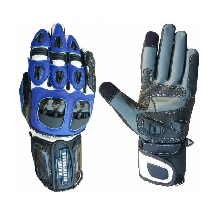 BBG Blue Full Gauntlet Leather Riding Gloves