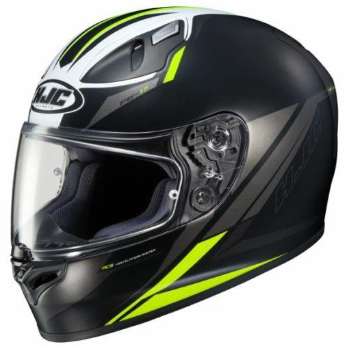 HJC FG17 Valve MC4HSF Matt Black White Fluorescent Yellow Full Face Helmet 1