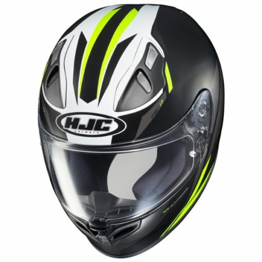 HJC FG17 Valve MC4HSF Matt Black White Fluorescent Yellow Full Face Helmet 2