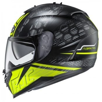 HJC IS 17 Enver MC4HSF Matt Black Flurocent Yellow Full Face Helmet 2