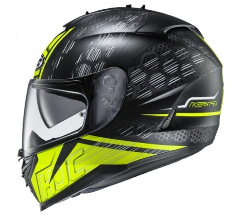 HJC IS 17 Enver MC4HSF Matt Black Flurocent Yellow Full Face Helmet 2