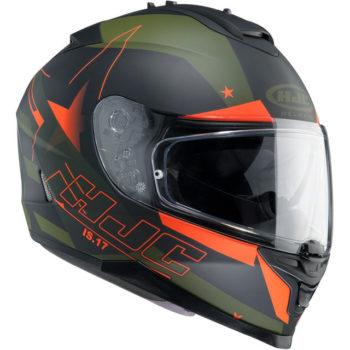 HJC IS 17 Enver MC7F Matt Black Army green Orange Full Face Helmet 1