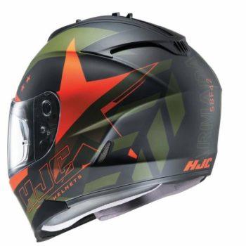 HJC IS 17 Enver MC7F Matt Black Army green Orange Full Face Helmet 2