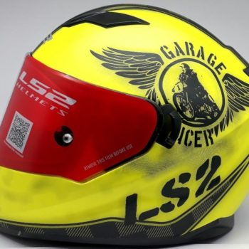 LS2 FF 320 Garage Matt Fluorescent Yellow Full Face Helmet 2