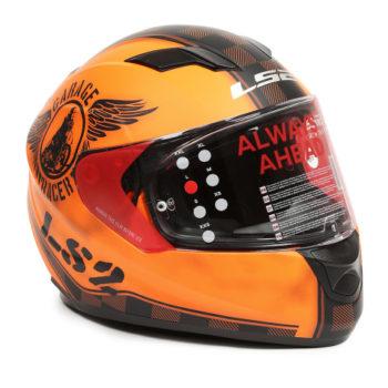 LS2 FF 320 Garage Matt Orange Black Full Face Helmet 2
