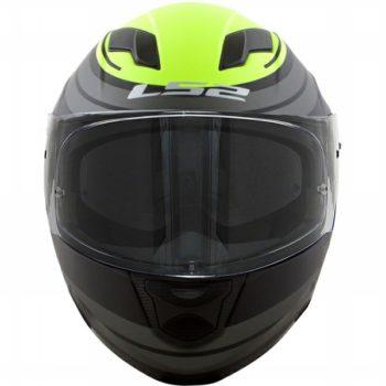 LS2 FF 320 Orbital Matt Black Grey FL Yellow Full Face Helmet front