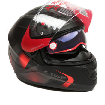 LS2 FF 320 Velvet Matt Black Red Full Face Helmet 2