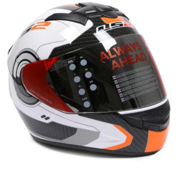 LS2 FF 352 Atmos Gloss White Orange Full Face Helmet 1