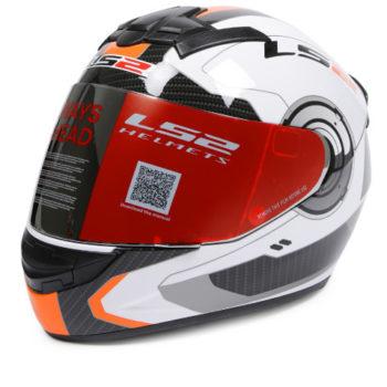 LS2 FF 352 Atmos Gloss White Orange Full Face Helmet 2