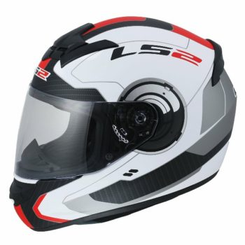 LS2 FF 352 Atmos Gloss White red full Face Helmet 3