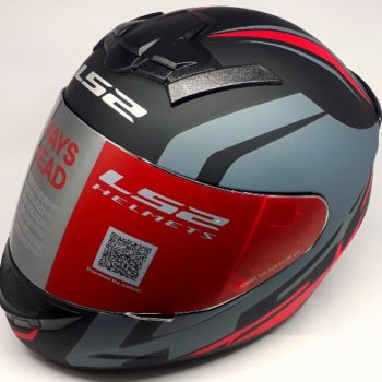 LS2 FF 352 Touring Matt Black Grey Red Full Face Helmet 2