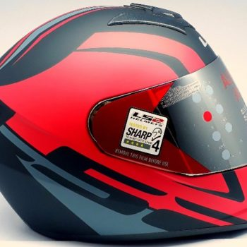 LS2 FF 352 Touring Matt Black Grey Red Full Face Helmet 4