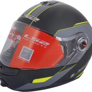 LS2 FF 386 Midnight Matt Black Fluorescent Yellow Full Face Helmet