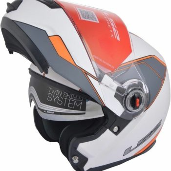 LS2 FF 386 Midnight Matt White Orange Flip up Helmet