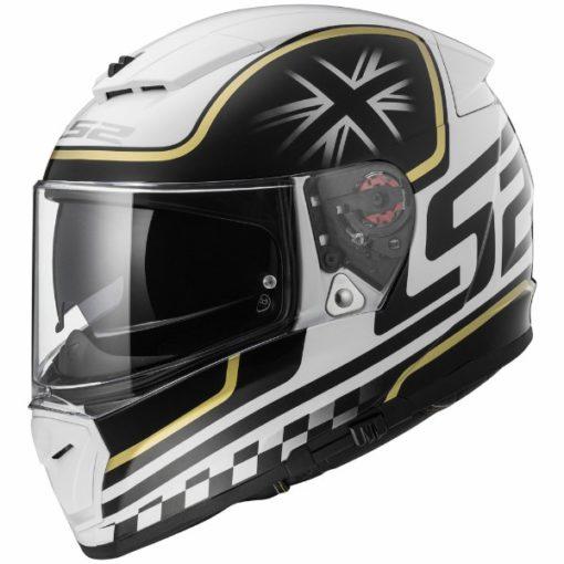 LS2 FF 390 Classic White Black Matt Full Face Helmet