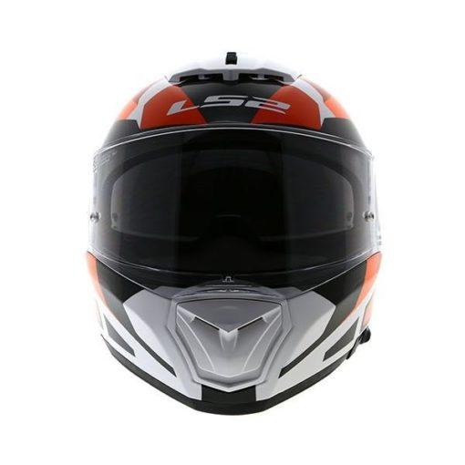 LS2 FF 390 Sergeant Matt White Red Orange Full Face Helmet front 1