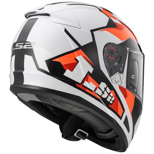 LS2 FF 390 Sergeant Matt White Red Orange Full Face Helmet front 3