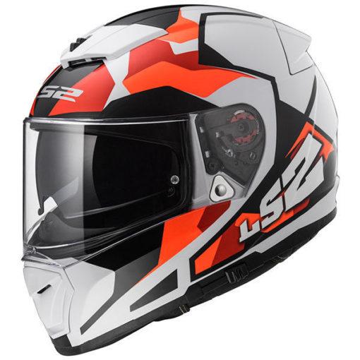 LS2 FF 390 Sergeant Matt White Red Orange Full Face Helmet side