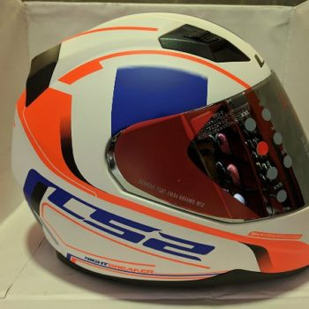 LS2 FF 391 Night Breaker Matt White Fluorescent Orange Blue Full Face Helmet 1