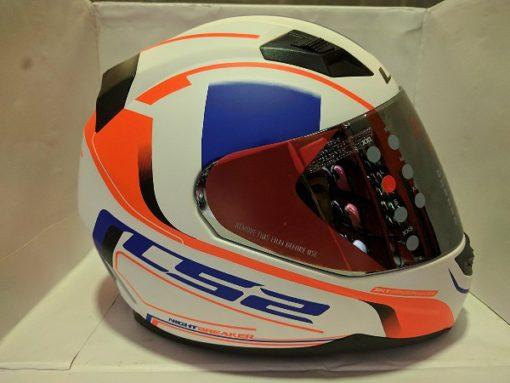 LS2 FF 391 Night Breaker Matt White Fluorescent Orange Blue Full Face Helmet 1