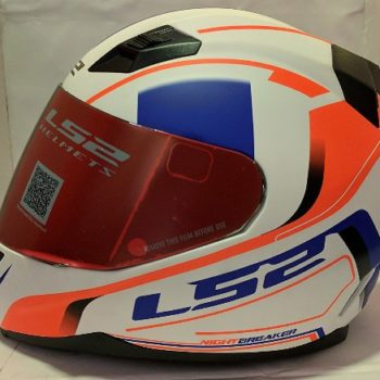 LS2 FF 391 Night Breaker Matt White Fluorescent Orange Blue Full Face Helmet 2