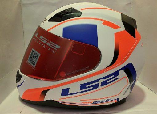 LS2 FF 391 Night Breaker Matt White Fluorescent Orange Blue Full Face Helmet 2