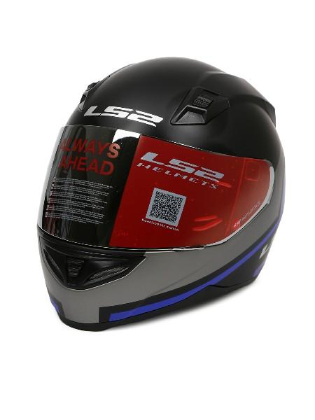 LS2 FF 391 Piston Matt Black Blue Full Face Helmet 3
