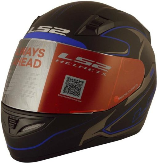 LS2 FF 391 Roller Matt Black Blue Full Face Helmet 3