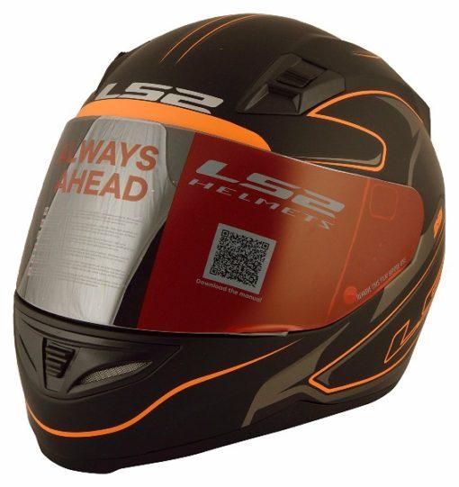 LS2 FF 391 Roller Matt Black Neon Orange Full Face Helmet 1