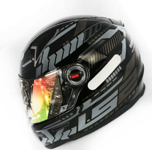 LS2 FF 396 Tron Gloss Black Silver Full Face Helmet