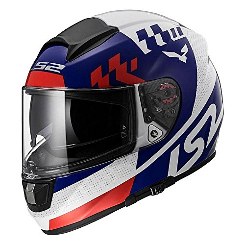 LS2 FF 397 Podium Matt White Blue Full Face Helmet 1