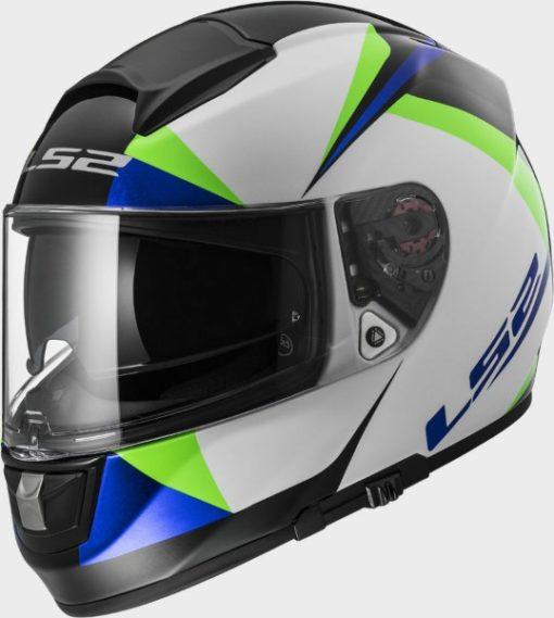 LS2 FF 397 Vector Gloss White Green blue Full Face Helmet