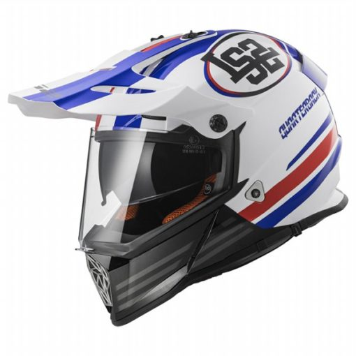 LS2 MX 436 Pioneer Quaterback Matt White Red Blue Motocross Helmet side