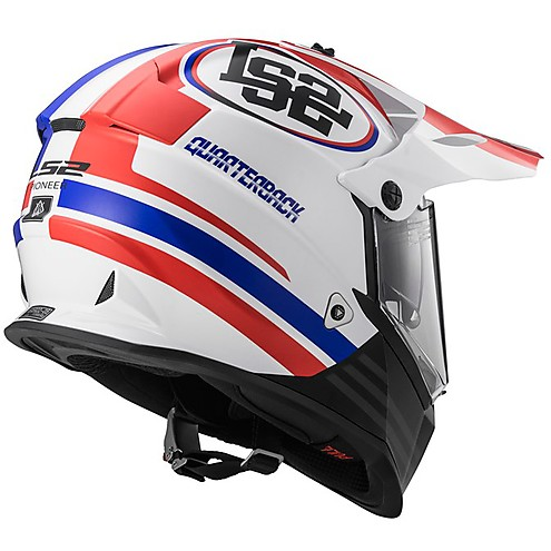 LS2 MX 436 Pioneer Quaterback Matt White Red Blue Motocross Helmet