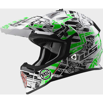 LS2 MX 437 Glitch Matt White Black Green Motocross Helmet
