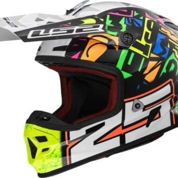 LS2 MX 456 Punch Matt Multicolour White Black Motocross Helmet