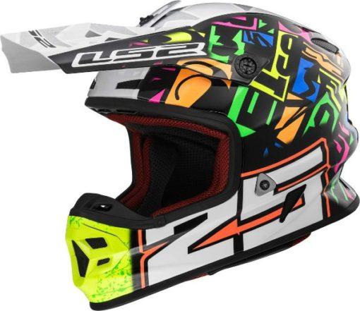 LS2 MX 456 Punch Matt Multicolour White Black Motocross Helmet