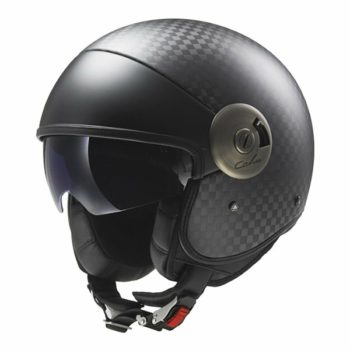 LS2 OF 597 Gloss Black Big Carbon Open Face Helmet