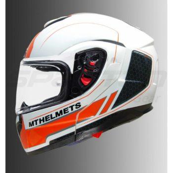 MT Atom SV Raceline Evo Gloss White Orange Flip Up Helmet 1