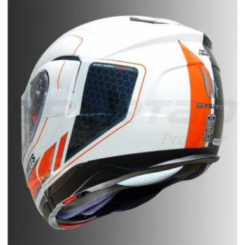 MT Atom SV Raceline Evo Gloss White Orange Flip Up Helmet 3
