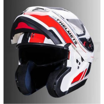 MT Atom SV Raceline Evo Gloss White Red Flip Up Helmet 2