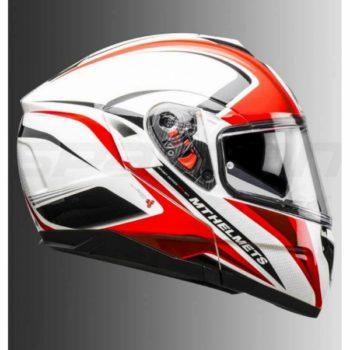 MT Atom SV Tech SX1 Gloss White Red Flip Up Helmet 1