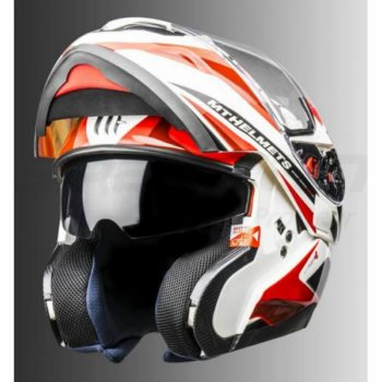 MT Atom SV Tech SX1 Gloss White Red Flip Up Helmet 2