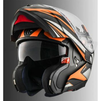 MT Atom SV Tech SX1 Matt Orange Flip Up Helmet 1
