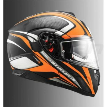 MT Atom SV Tech SX1 Matt Orange Flip Up Helmet 2