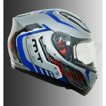 MT Revenge Cyborg Gloss Silver Blue Full Face Helmet 1