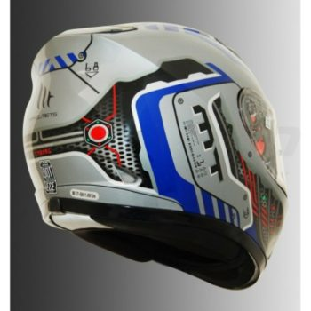 MT Revenge Cyborg Gloss Silver Blue Full Face Helmet 2