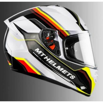 MT Stinger Pole Gloss White Fluorescent Yellow Full Face Helmet 1