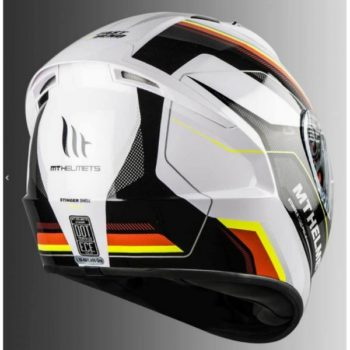 MT Stinger Pole Gloss White Fluorescent Yellow Full Face Helmet 2